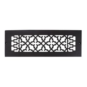 "Acorn Hardware - Cast Iron Grills & Registers - Smooth Iron Grille 14"" x 4"" with Holes in Black"