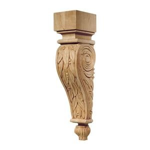 "Hafele Cabinet Hardware - Chateau - 13"" Tall Hand Carved Wooden Corbel in Cherry"
