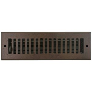 "Hamilton Sinkler - Solid Bronze 2 1/4"" x 10"" Flat Wall Register with Louver in Bronze Patina"