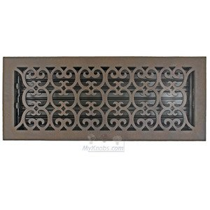 "Hamilton Sinkler - Solid Bronze 6"" x 16"" Scroll Wall Register with Louver in Bronze Patina"