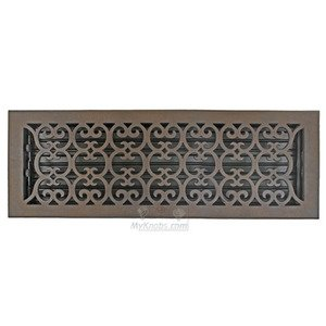 "Hamilton Sinkler - Solid Bronze 6"" x 20"" Scroll Wall Register with Louver in Bronze Patina"