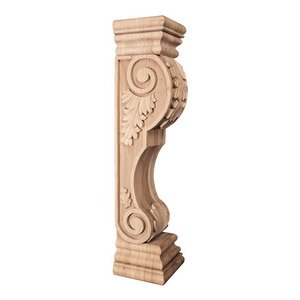 Hardware Resources - Acanthus Traditional Fireplace Corbel in Alder Wood