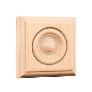 "Hardware Resources - 3"" x 3"" x 7/8"" Traditional Rosette in Alder Wood"