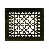 "Acorn MFG - Cast Iron Grilles & Registers - Smooth Iron Grille 10"" x 8"" with Holes in Black"