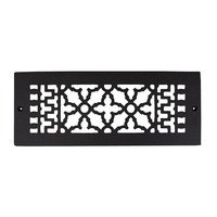 "Acorn MFG - Cast Iron Grilles & Registers - Smooth Iron Grille 12"" x 4"" with Holes in Black"
