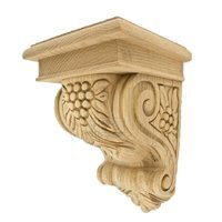"Hafele Hardware - Bordeaux - 9"" Tall Hand Carved Wooden Corbel in Red Oak"