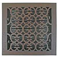 "Hamilton Sinkler - Scroll Floor Registers - Solid Bronze 10"" x 10"" Scroll Floor Register with Louver in Bronze Patina"