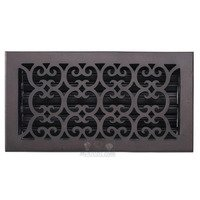 "Hamilton Sinkler - Scroll Floor Registers - Solid Bronze 6"" x 12"" Scroll Floor Register with Louver in Bronze Patina"