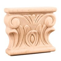 "Hardware Resources - Capitals - 3 1/2"" Acanthus Traditional Capital in Hard Maple Wood"