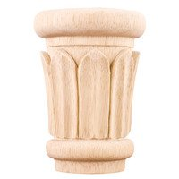 "Hardware Resources - Capitals - 4 3/8"" Reed Traditional Capital in Alder Wood"