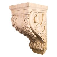 Hardware Resources - Corbels and Bar Brackets - Large Acanthus Traditional Corbel in White Birch Wood