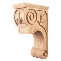 "Hardware Resources - Corbels and Bar Brackets - 5 3/8"" x 11 3/4"" x 8"" Fleur-De-Lis Traditional Corbel in Hard Maple Wood"