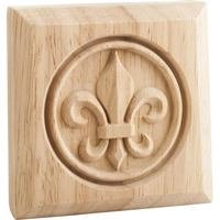 "Hardware Resources - Mouldings - 3"" x 3"" x 7/8"" Fleur de Lis Rosette in Rubberwood Wood"