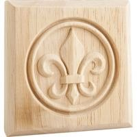 "Hardware Resources - Mouldings - 4"" x 4"" x 7/8"" Fleur de Lis Rosette in Rubberwood Wood"