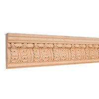 "Hardware Resources - Mouldings - 3 3/4"" Acanthus Traditional Hand Carved Mouldings in Alder Wood (8 Linear Feet)"