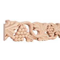 "Hardware Resources - Mouldings - 4"" Grape Traditional Hand Carved Mouldings in Cherry Wood (8 Linear Feet)"