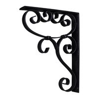 Hardware Resources - Decorative Metal Accessories - Metal (Iron) Scrolled Bar Bracket with Knot Detail in Black