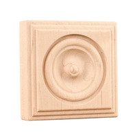 "Hardware Resources - Mouldings - 3"" x 3"" x 7/8"" Traditional Rosette in Hard Maple Wood"