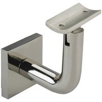 Linnea Hardware - Hand Rail Brackets - Square Mount Base and Rounded Arm with Curve Clamp Surface Mounted Hand Rail Bracket in Polished Stainless Steel