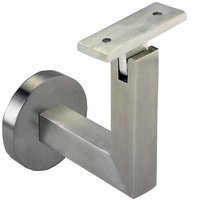 Linnea Hardware - Hand Rail Brackets - Round Mount Base and Squared Arm with Flat Clamp Surface Mounted Hand Rail Bracket in Satin Stainless Steel