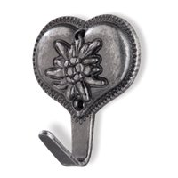 Siro Designs - Edelweiss - Antique Silver Heart Towel Hook