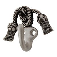 Vicenza Hardware - Clothing Hook - Twisted Tassel Sforza Hook in Satin Nickel
