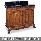 "Jeffrey Alexander by Hardware Resources - Burled Ornate - 39"" Bathroom Vanity in Golden Pecan with Black Granite Top and Bowl"